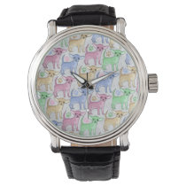 Chihuahua Lover Colorful Pattern Wristwatch