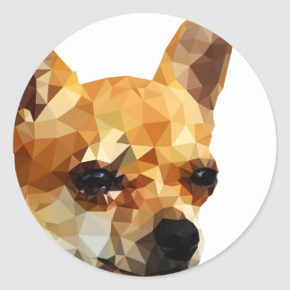 Chihuahua Low Poly Art Classic Round Sticker