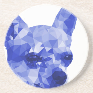 Chihuahua Low Poly Art in Blue Drink Coaster