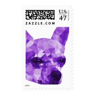 Chihuahua Low Poly Art in Purple Postage