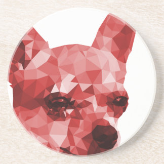 Chihuahua Low Poly Art in Red Coaster