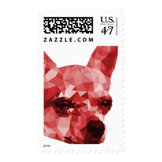 Chihuahua Low Poly Art in Red Postage