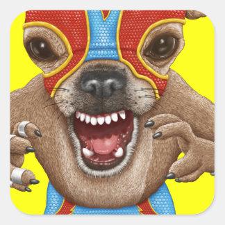 Chihuahua - luchador mexicano calcomanía cuadrada