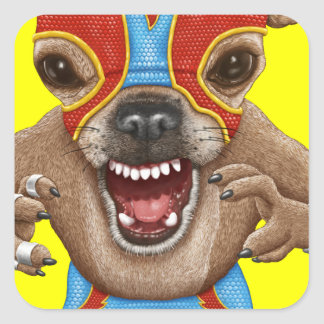 Chihuahua - luchador mexicano pegatina cuadrada