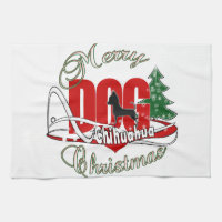 Chihuahua Merry Christmas Kitchen Towel
