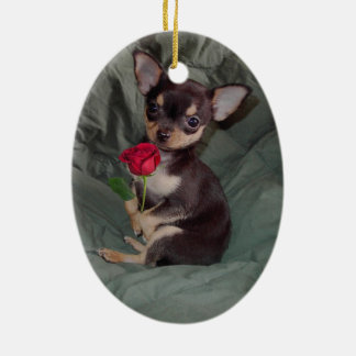 Chihuahua MerryRose Holding A Rose Ornament