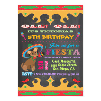 Chihuahua Mexican Fiesta Birthday Party Invitation