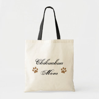 Chihuahua Mom Script w/ Pawprints Tote Bags