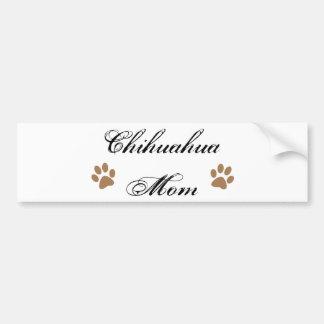 Chihuahua Mom Script w/ Pawprints Bumper Sticker
