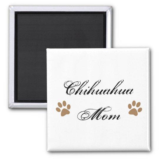 Chihuahua Mom Script w/ Pawprints Magnet