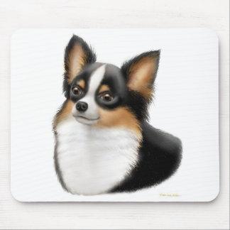 Chihuahua Mousepad de pelo largo tricolor