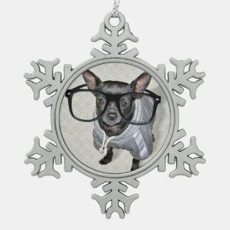 Chihuahua negra con la foto de los vidrios adorno