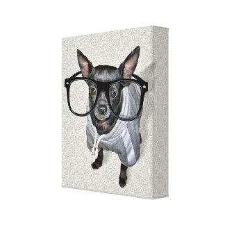 Chihuahua negra con la foto de los vidrios lienzo envuelto para galerias