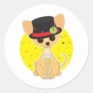 Chihuahua New Year Classic Round Sticker