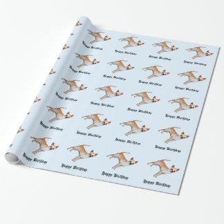 Chihuahua on Blue Happy Birthday Gift Wrapping Paper