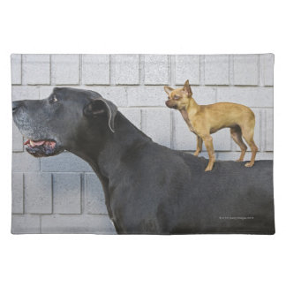 Chihuahua on Great Dane's back Cloth Placemat