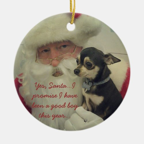 Chihuahua on Santas Lap Ceramic Ornament