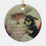 Chihuahua on Santa's Lap Double-Sided Ceramic Round Christmas Ornament