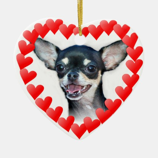 Chihuahua Double-Sided Heart Ceramic Christmas Ornament
