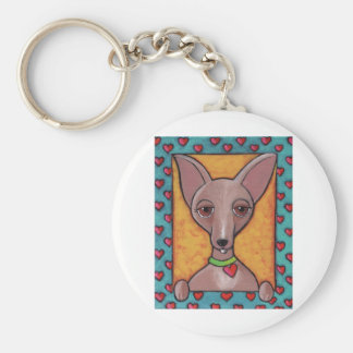 Chihuahua Painting Basic Round Button Keychain