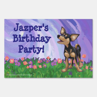 Chihuahua Party Center Lawn Sign