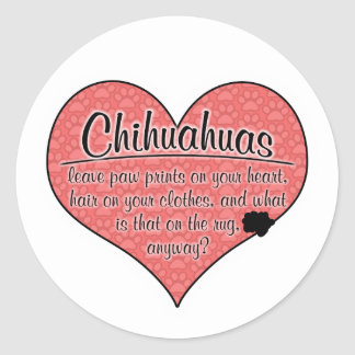 Chihuahua Paw Prints Dog Humor Classic Round Sticker