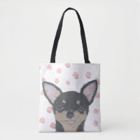 Chihuahua, Pink Dots, Cute Tote Bag