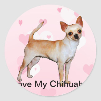 Chihuahua Pink & White Hearts Classic Round Sticker