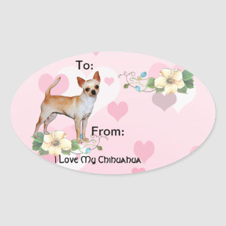 Chihuahua Pink & White Hearts Oval Sticker