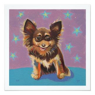 Chihuahua - pintura original linda colorida de la invitacion personalizada
