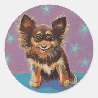 Chihuahua - pintura original linda colorida de la pegatinas redondas