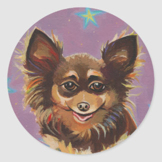 Chihuahua - pintura original linda colorida de la etiquetas redondas