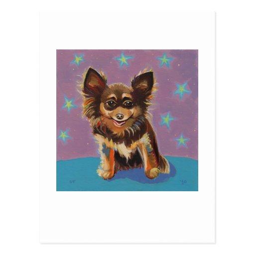 Chihuahua - pintura original linda colorida de la postales