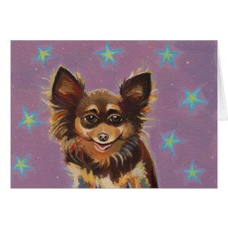 Chihuahua - pintura original linda colorida de la  felicitaciones