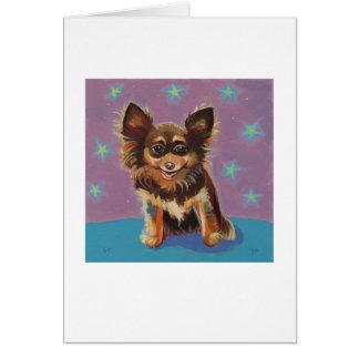 Chihuahua - pintura original linda colorida de la  felicitación