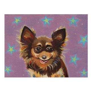 Chihuahua - pintura original linda colorida de la  postal