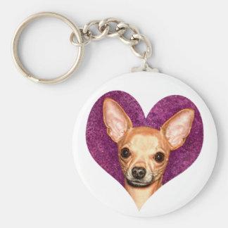Chihuahua Portrait Basic Round Button Keychain