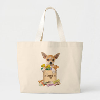 Chihuahua Posed with Cookie Jar Tote Bags