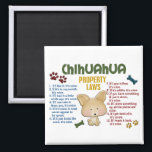 """Chihuahua Property Laws 4 Magnet<br><div class=""""desc"""">Create a laugh, or two, with our funny Chihuahua Property Laws gifts, t-shirts, apparel, and merchandise featuring an adorable Chihuahua cartoon drawn exclusively for Pooch Lover Stuff by one of our awesome designers. These humorous, and oh so true, dog rules are sure to be a hit with any Chihuahua owner...</div>"""