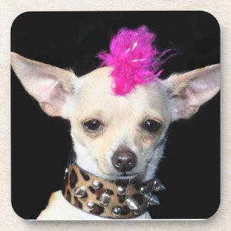 Chihuahua punk rocker beverage coaster