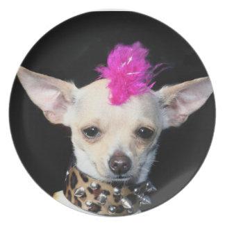 Chihuahua punk rocker melamine plate