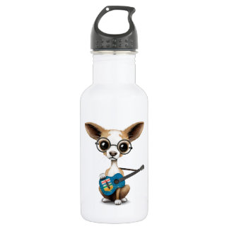 Chihuahua Puppy Dog Playing Alberta Flag Guitar 18oz Water Bottle