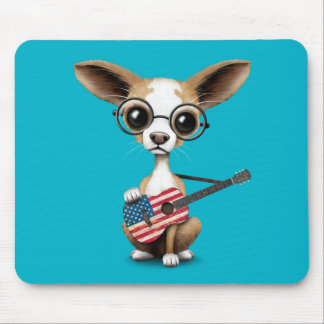 Chihuahua Puppy Dog Playing American Flag Guitar Mouse Pad