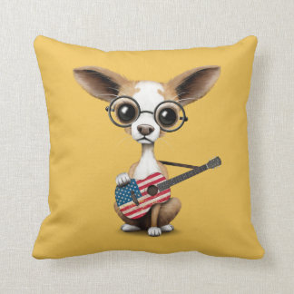 Chihuahua Puppy Dog Playing American Flag Guitar Throw Pillow