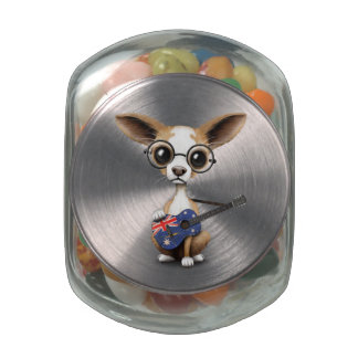 Chihuahua Puppy Dog Playing Australian Flag Guitar Jelly Belly Candy Jar
