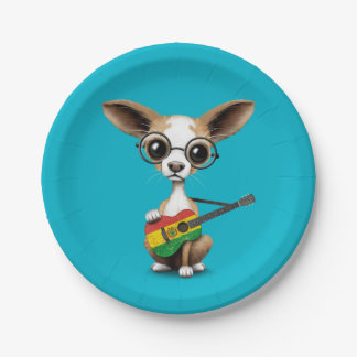 Chihuahua Puppy Dog Playing Bolivian Flag Guitar Paper Plate