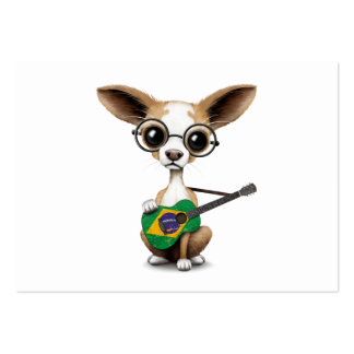 Chihuahua Puppy Dog Playing Brazilian Flag Guitar Large Business Card