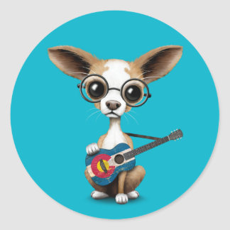 Chihuahua Puppy Dog Playing Colorado Flag Guitar Classic Round Sticker