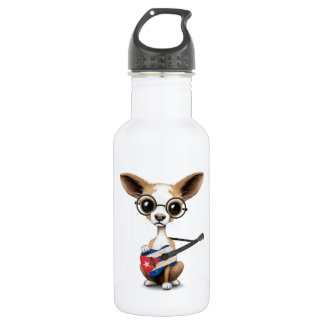 Chihuahua Puppy Dog Playing Cuban Flag Guitar Stainless Steel Water Bottle