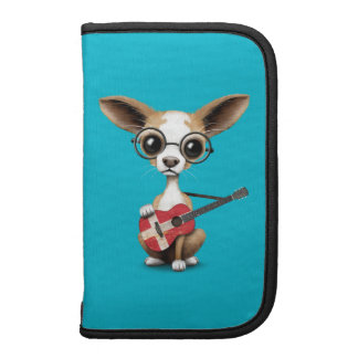 Chihuahua Puppy Dog Playing Danish Flag Guitar Planner